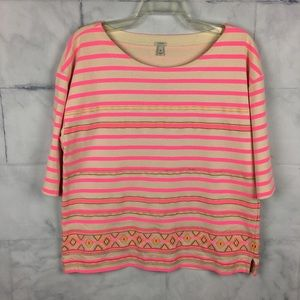 J. Crew neon pink embroidered top XL striped